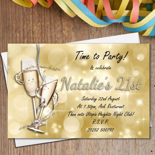 10 Personalised Gold Sparkle Champagne Birthday Party Invitations N182